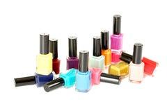 Bottles of nail polish. On a white Royalty Free Stock Photo