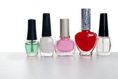Bottles of nail polish. White background Stock Image