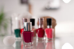 Bottles of nail polish on a white background Royalty Free Stock Images