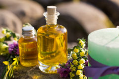 Bottles with natural aroma oil over nature background. Stock Photography