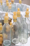 Bottles with nipples for infants Stock Images