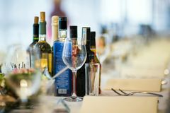 Free Bottles Of Alcohol On A Party Table Royalty Free Stock Photography - 146115597