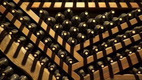 Bottles with old wine. Wine cellar.  stock video footage
