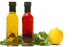 Bottles of Olive Oil. Two bottles of different flavoured olive oil stock photo