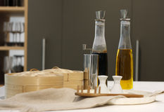 Bottles of the olive oil and balsamic vinegar Stock Photo