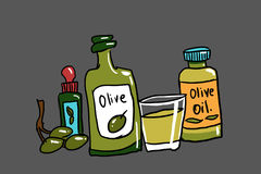 Bottles of olive oil illustration. Bottles of olive oil on gray background illustration Royalty Free Stock Photo