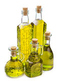 Bottles with olive oil isolated on white Stock Photography