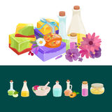 Bottles with organic essential aroma oil and soap bar set. Vector illustration vector illustration