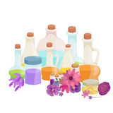 Bottles with organic essential aroma oil and soap bar set Stock Photos