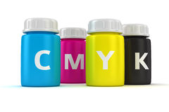 Bottles with paint. Four bottles with paint of cmyk colors Royalty Free Stock Photo