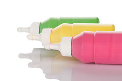 Bottles of paint Stock Images