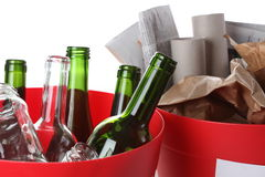 Bottles and paper Royalty Free Stock Photos