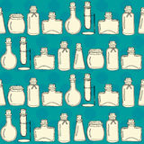 Bottles paper. Vector seamless pattern with hand drawn bottles. Great for drugstore, beauty salon or cafe stationery design Stock Illustration