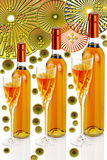 Bottles of passito wine with wine glasses e pattenrs. Bottles of passito wine with wine glasses on a white background decorative patterns Stock Photos