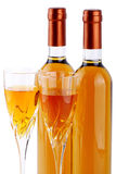 Bottles of passito wine with wine glasses. On white background Stock Photo
