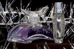 Bottles of perfume. Over black Royalty Free Stock Photography