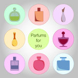 Bottles of perfume Stock Photography