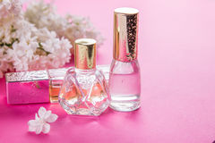 Bottles of perfume with lilac Stock Image