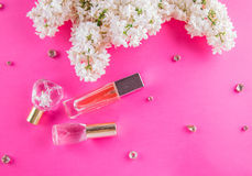 Bottles of perfume with lilac Royalty Free Stock Photo