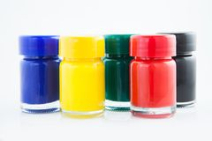 Bottles poster color  on white background Royalty Free Stock Photos
