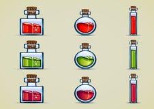 Bottles of potion. Set of nine bottles of potion Vector Illustration