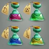 Bottles of potion. Vector illustration Royalty Free Stock Photos