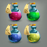 Bottles of potion. Vector illustration. Stock Images