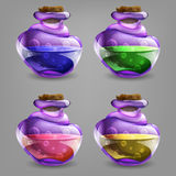Bottles of potion. Vector illustration. Isolated  vector illustration of cartoon bottles of potion Stock Photography