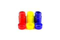 Bottles of primary color Royalty Free Stock Photos