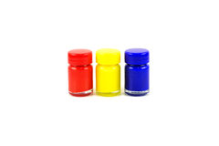 Bottles of primary color Stock Photos