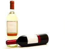 bottles röd vit wine Fotografering för Bildbyråer
