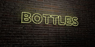 BOTTLES -Realistic Neon Sign on Brick Wall background - 3D rendered royalty free stock image Stock Image