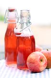 Bottles with red drinks and some apples. Two bottles with red drink and some apples near by on a napkin Stock Images