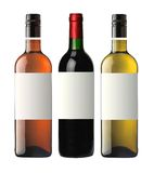 Bottles of red, pink and white wine isolated on white Stock Photo