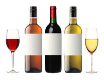 Bottles of red, pink and white wine isolated on white Stock Image