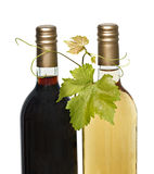 Bottles of red and white wine royalty free stock image