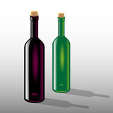 Bottles of red and white wine Stock Images