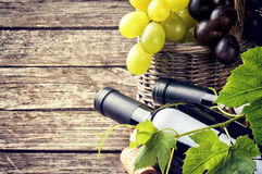 Bottles of red and white wine with fresh grape Stock Photography