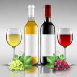 Bottles of red and white wine with glass. Vector illustration Stock Photo