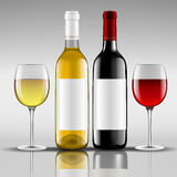Bottles of red and white wine with glass. Vector illustration Stock Images