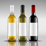 Bottles of red and white wine. Vector illustration Royalty Free Stock Image