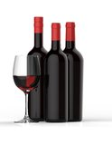 Bottles of red wine with glass Stock Photography