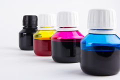Bottles of refill color. Inkjet refill colors in bottles Stock Image