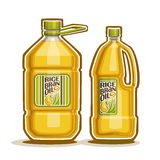 Bottles with Rice Bran Oil. Vector logo 2 big yellow plastic Bottle with Rice Bran Oil and label, gallon canister filled pure cooking oil,cartoon large container Royalty Free Stock Images
