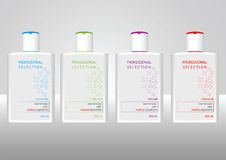 Bottles with sample labels for shampoo Stock Photo