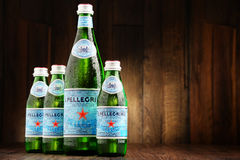 Bottles of San Pellegrino mineral water. POZNAN, POLAND - JUNE 23, 2016: San Pellegrino is an Italian brand of mineral water made in the Province of Bergamo Stock Image