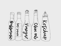Bottles of sauce, sketch vector. Royalty Free Stock Image