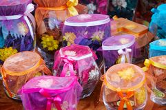 Bottles of scent flowers Royalty Free Stock Photography