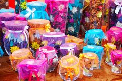 Bottles of scent flowers Royalty Free Stock Photo