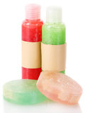 Bottles with scrub and soaps Royalty Free Stock Photography